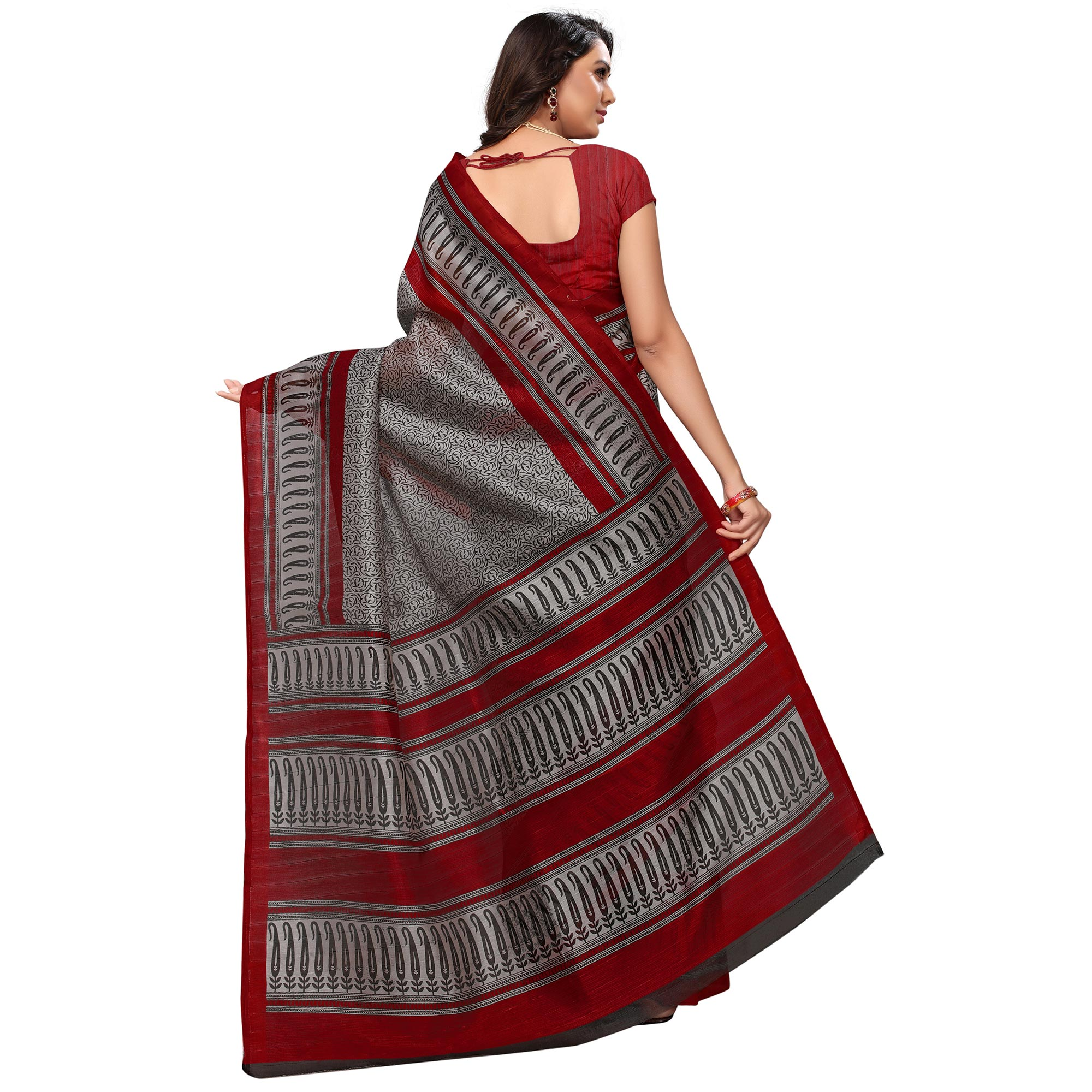 Majestic Gray-Red Colored Casual Printed Bhagalpuri Silk Saree