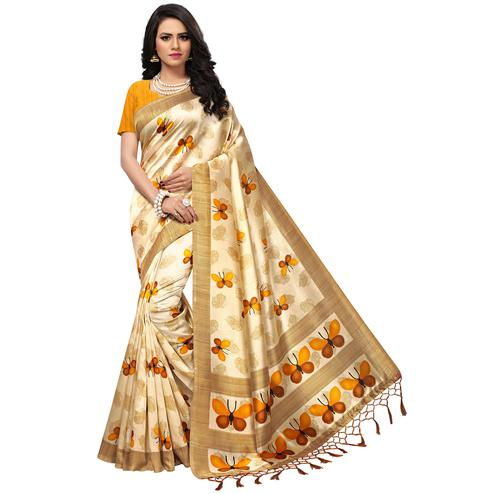 Attractive Cream-Yellow Colored Casual Printed Mysore Art Silk Saree