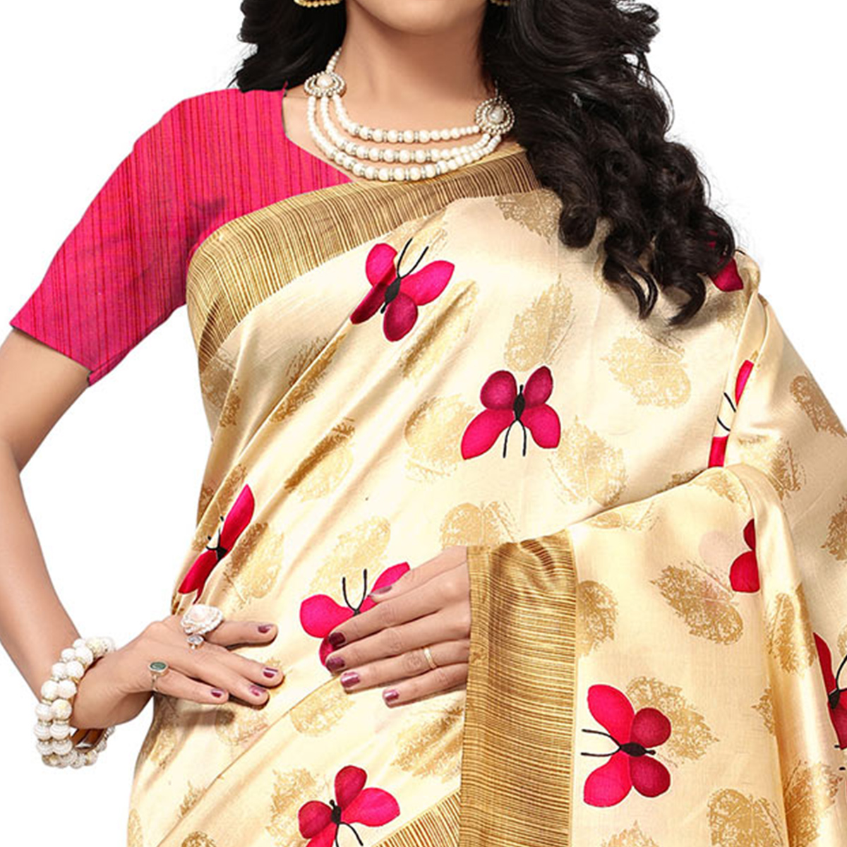 Eye-Catching Cream-Pink Colored Casual Printed Mysore Art Silk Saree