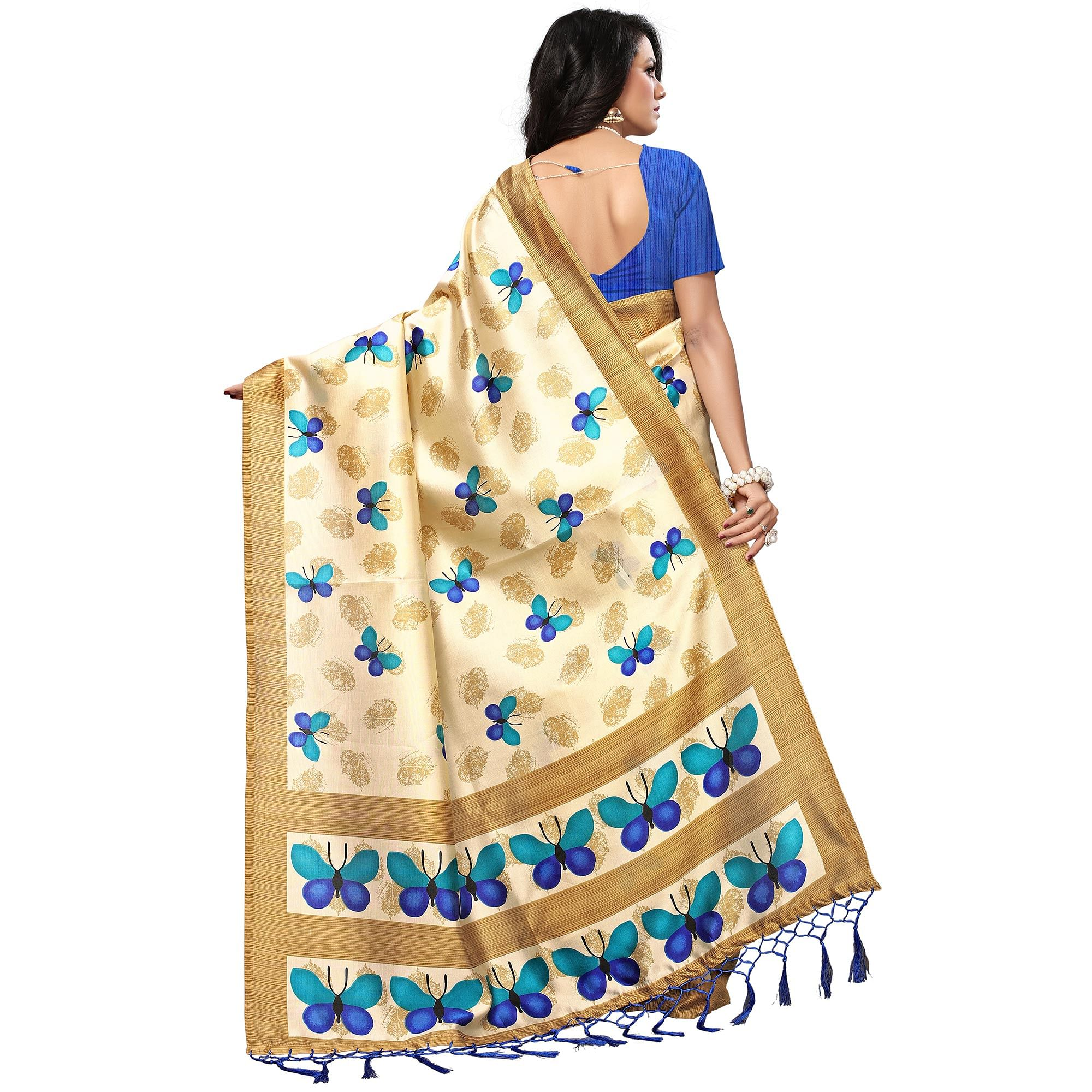 Mesmeric Cream-Blue Colored Casual Printed Mysore Art Silk Saree