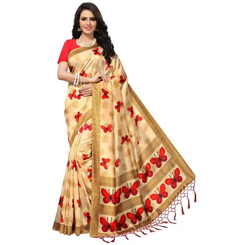 Refreshing Cream-Red Colored Casual Printed Mysore Art Silk Saree