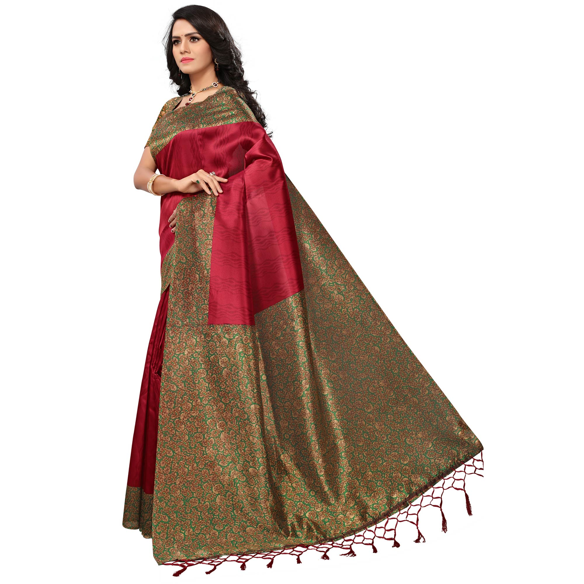 Trendy Maroon Colored Casual Printed Mysore Art Silk Saree