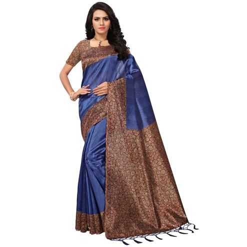 Desiring Blue Colored Casual Printed Mysore Art Silk Saree