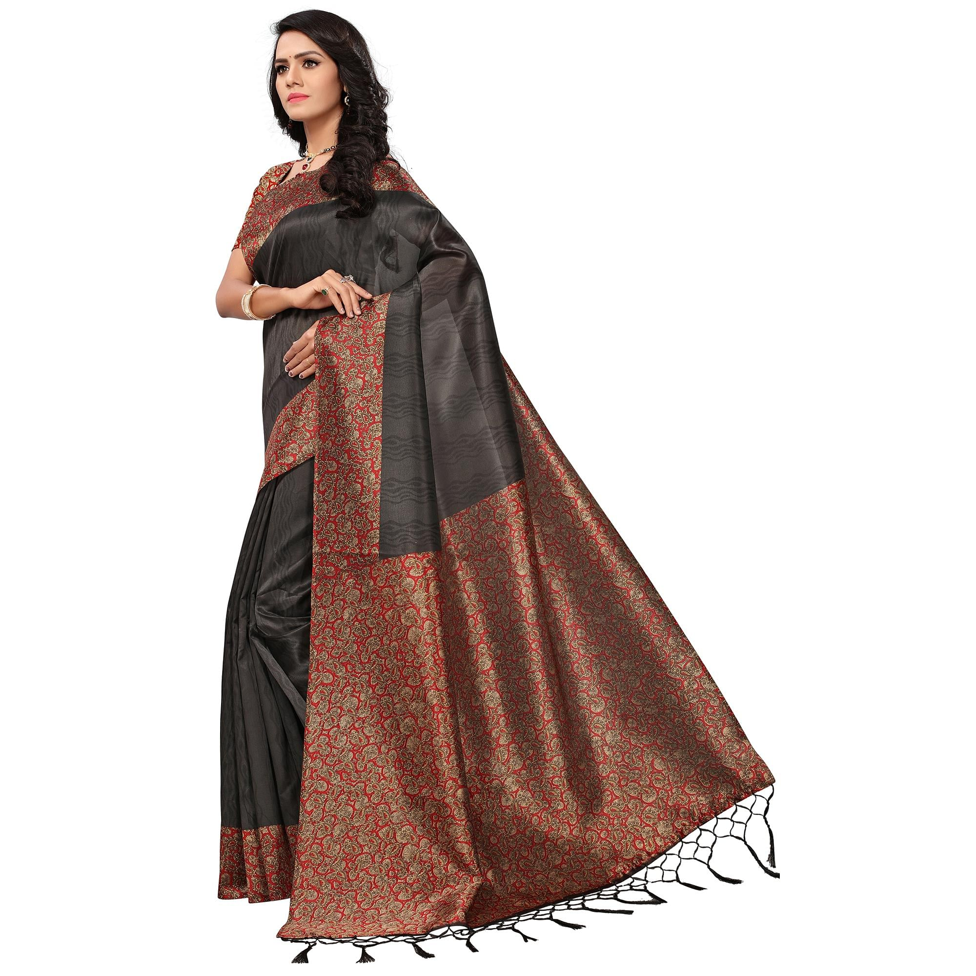 Flaunt Black Colored Casual Printed Mysore Art Silk Saree