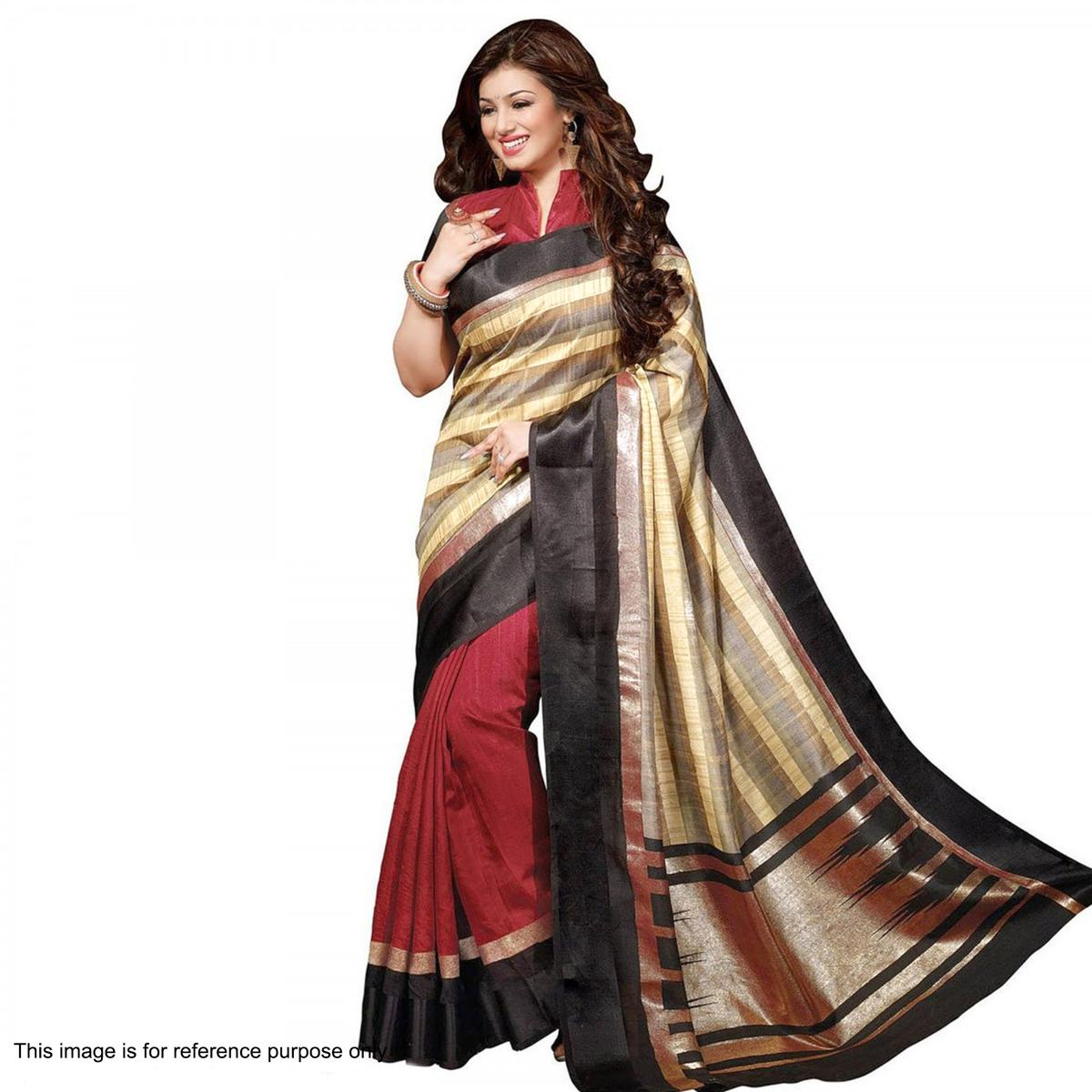 Grey - Maroon Bhagalpuri Silk Saree