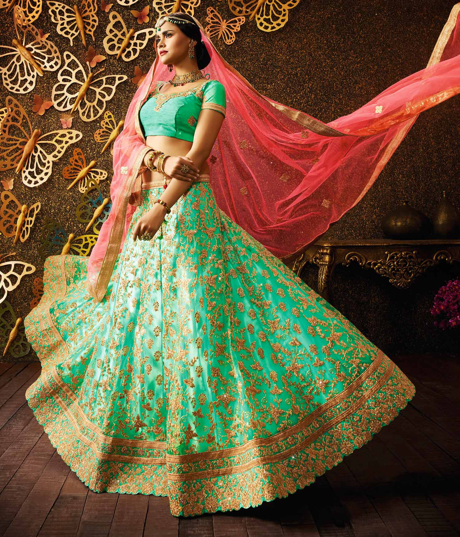Charming Sea Green-Pink Designer Net Embroidered Lehenga Choli