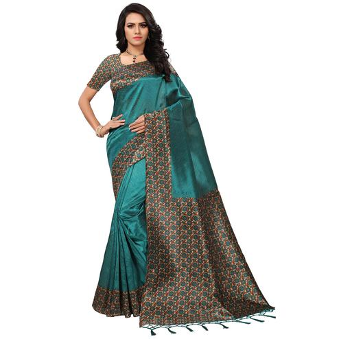 Exceptional Teal Blue Colored Casual Printed Mysore Art Silk Saree