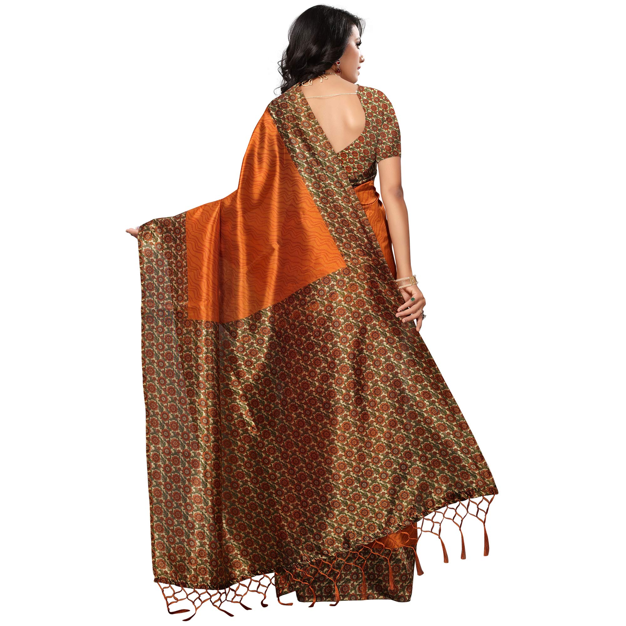 Traditional Orange Colored Casual Printed Mysore Art Silk Saree