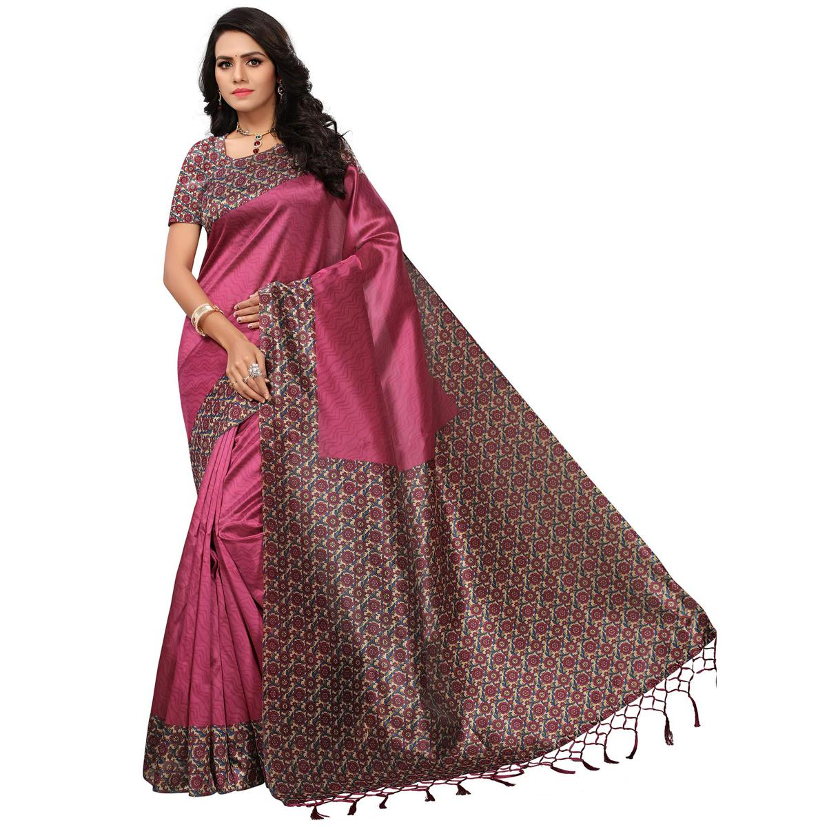 Charming Pink Colored Casual Printed Mysore Art Silk Saree