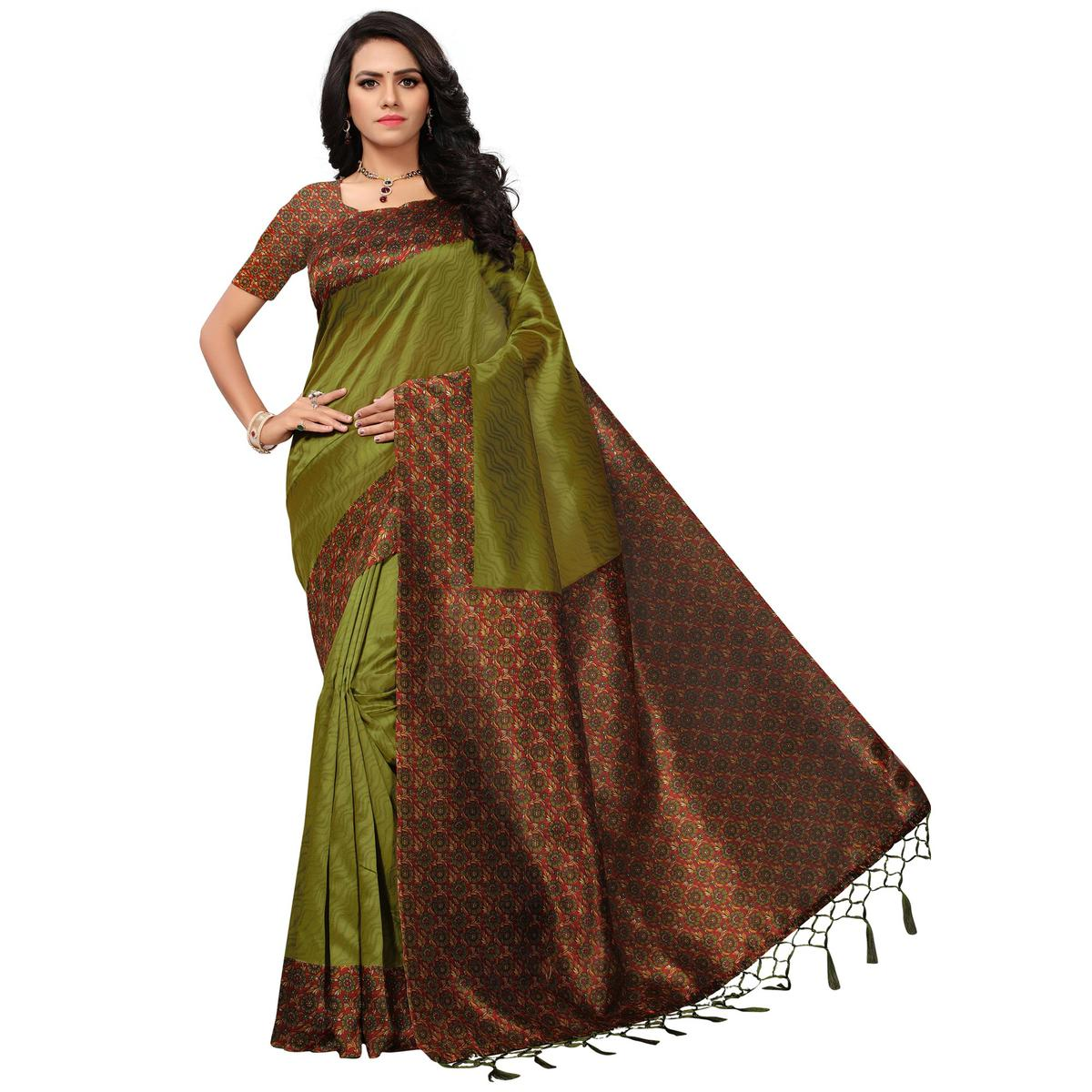 Refreshing Green Colored Casual Printed Mysore Art Silk Saree