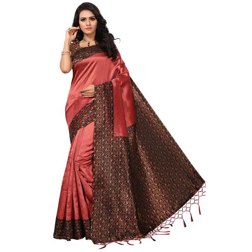 Exceptional Coral Colored Casual Printed Mysore Art Silk Saree