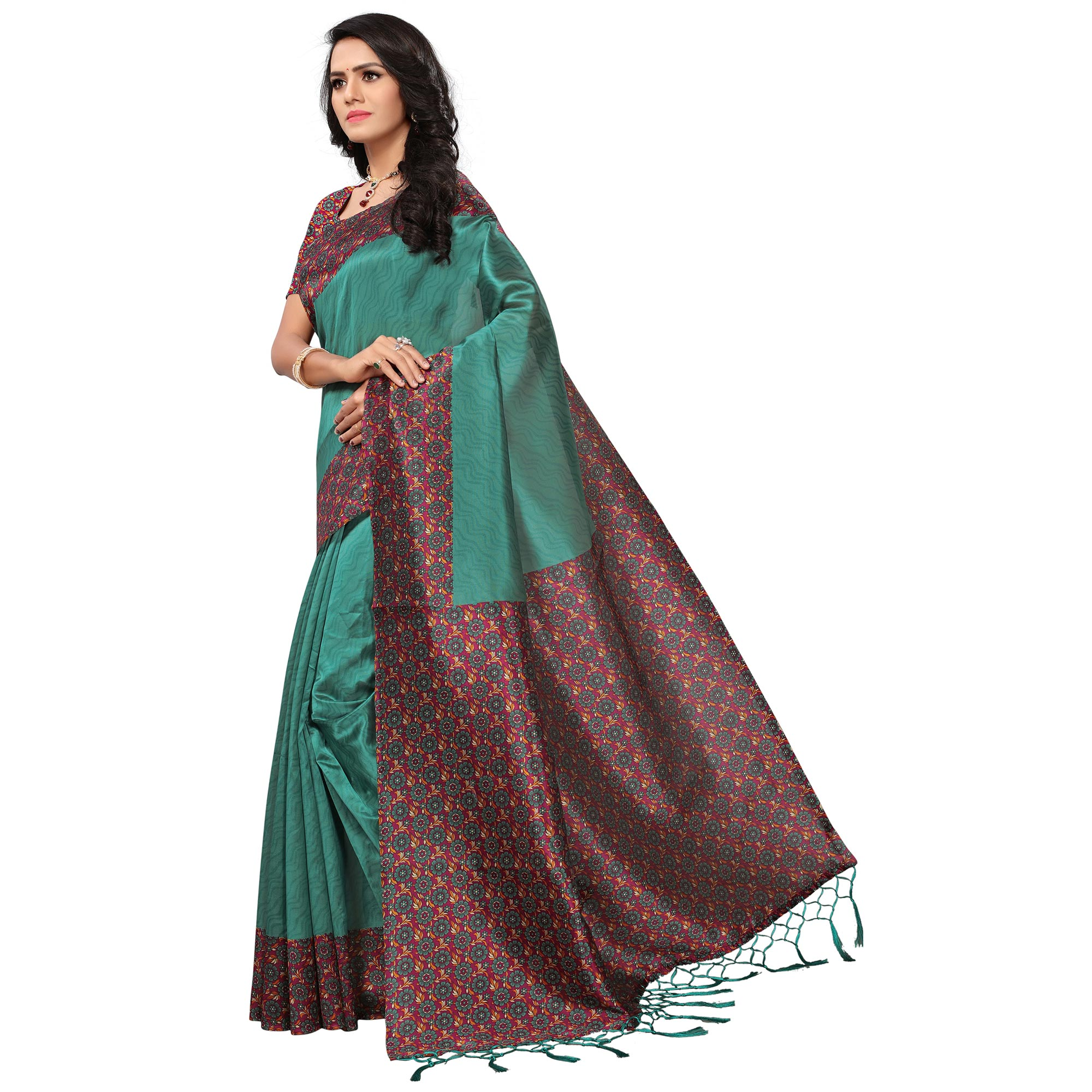 Adorning Turquoise Green Colored Casual Printed Mysore Art Silk Saree