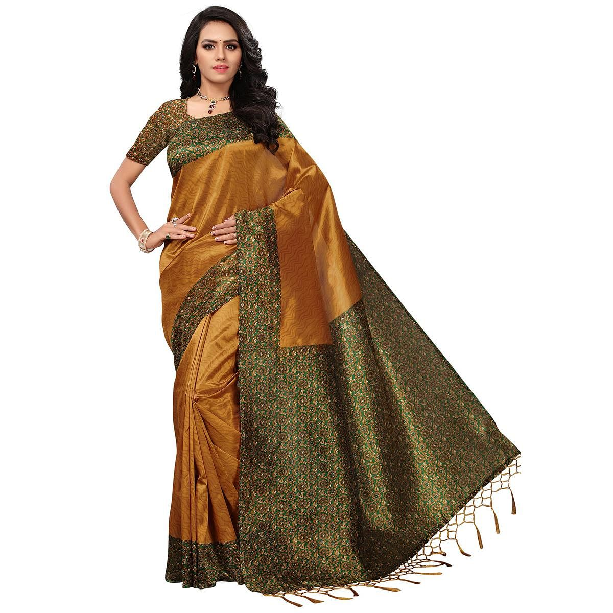 Pretty Yellow Colored Casual Printed Mysore Art Silk Saree