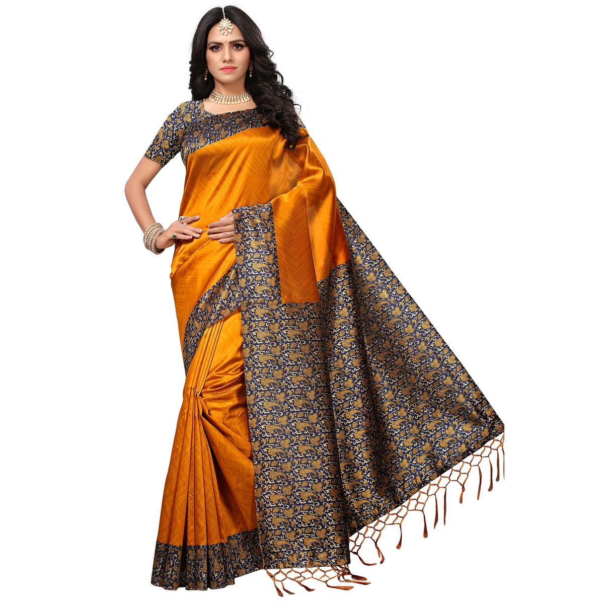 Glorious Orange Colored Casual Printed Mysore Art Silk Saree