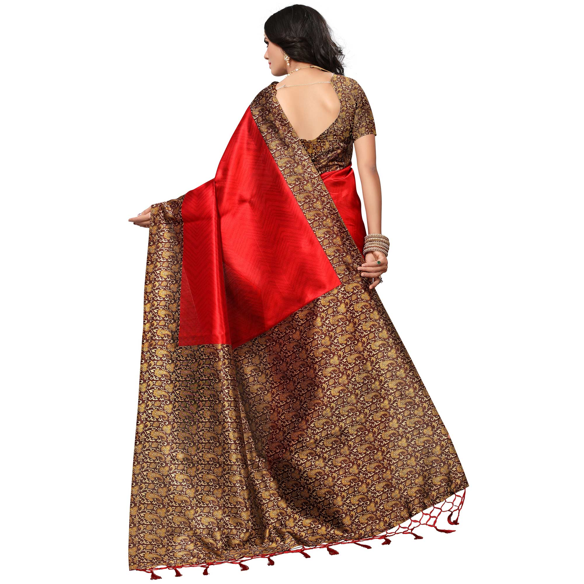 Mesmerising Red Colored Casual Printed Mysore Art Silk Saree
