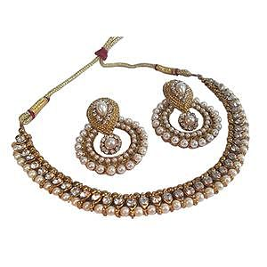 Golden - Off White Pearl Polki Necklace Set