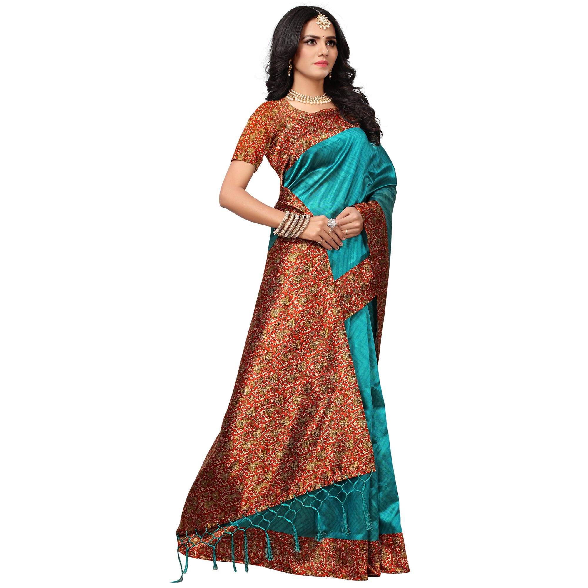 Gorgeous Blue Colored Casual Printed Mysore Art Silk Saree
