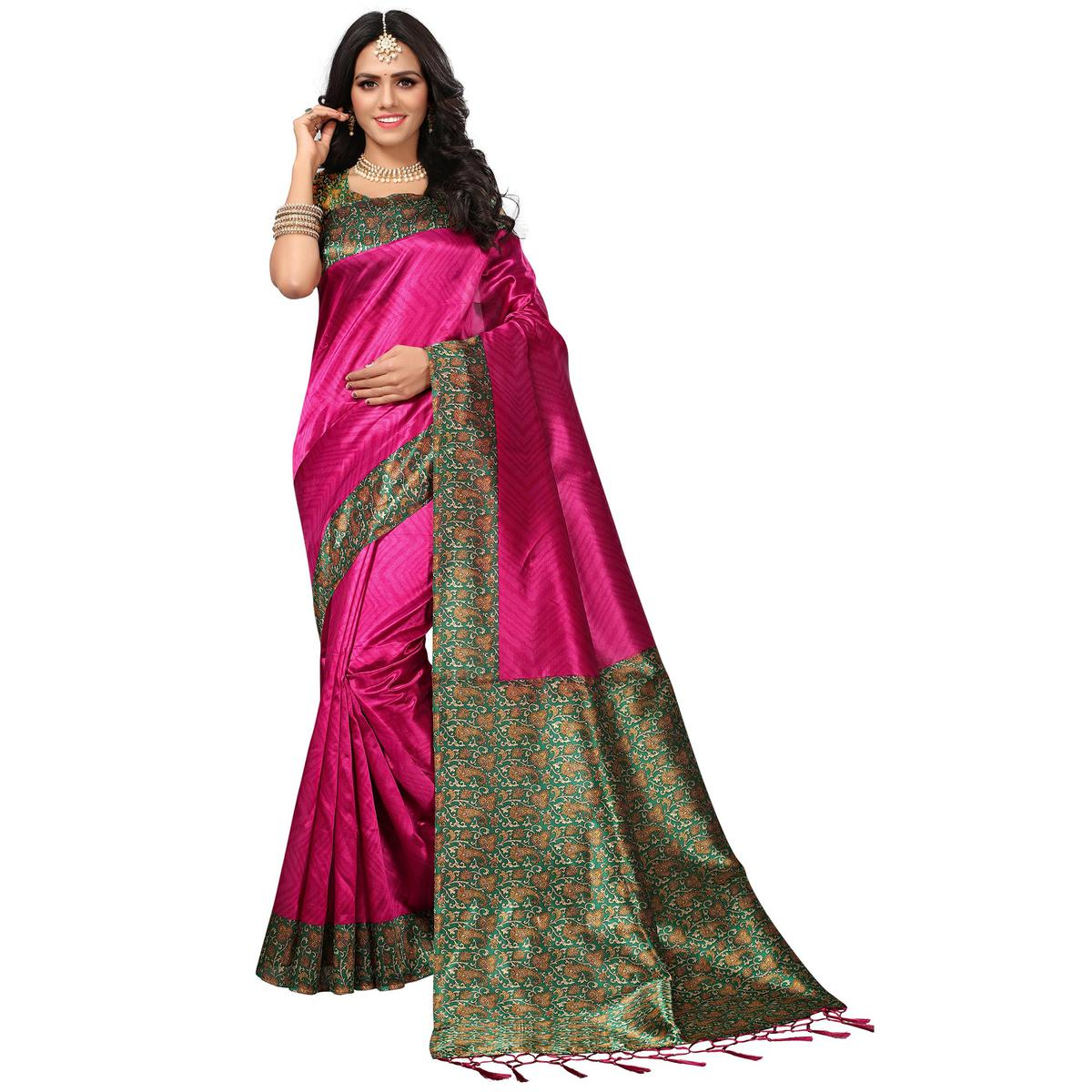 Perfect Pink Colored Casual Printed Mysore Art Silk Saree