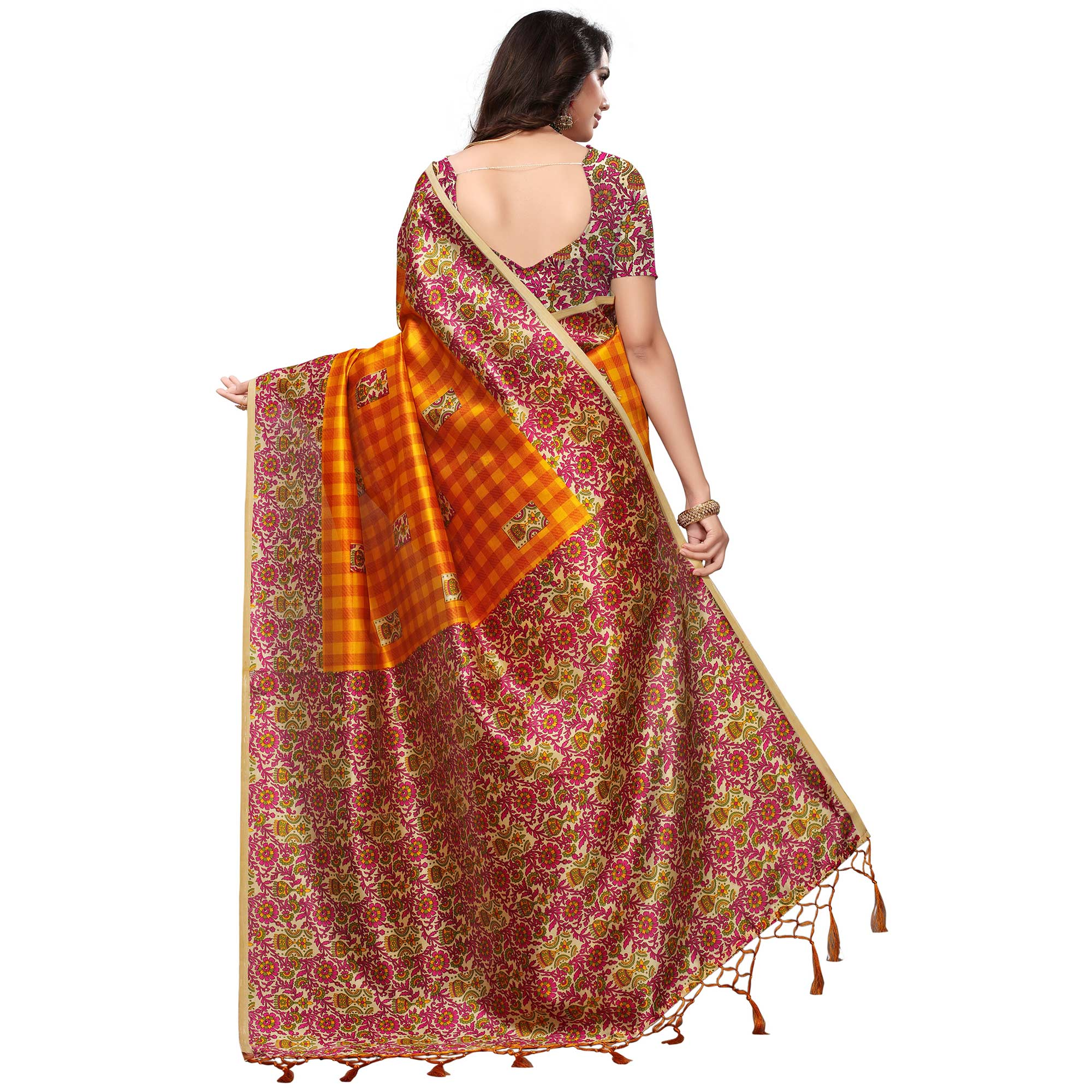 Lovely Yellow Colored Casual Printed Mysore Art Silk Saree
