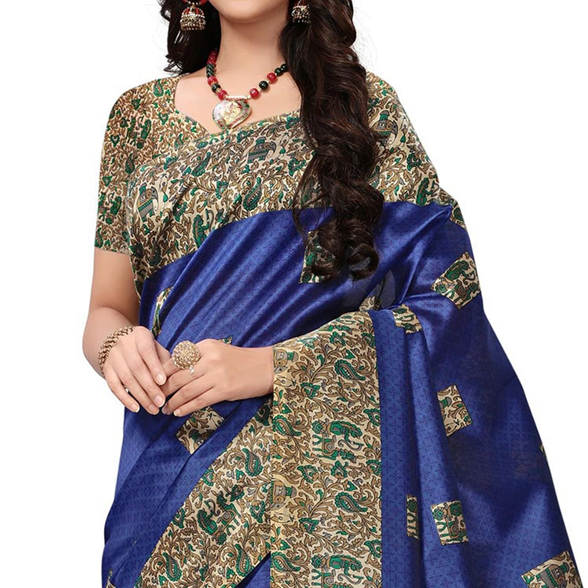 Surpassing Navy Blue Colored Casual Printed Mysore Art Silk Saree