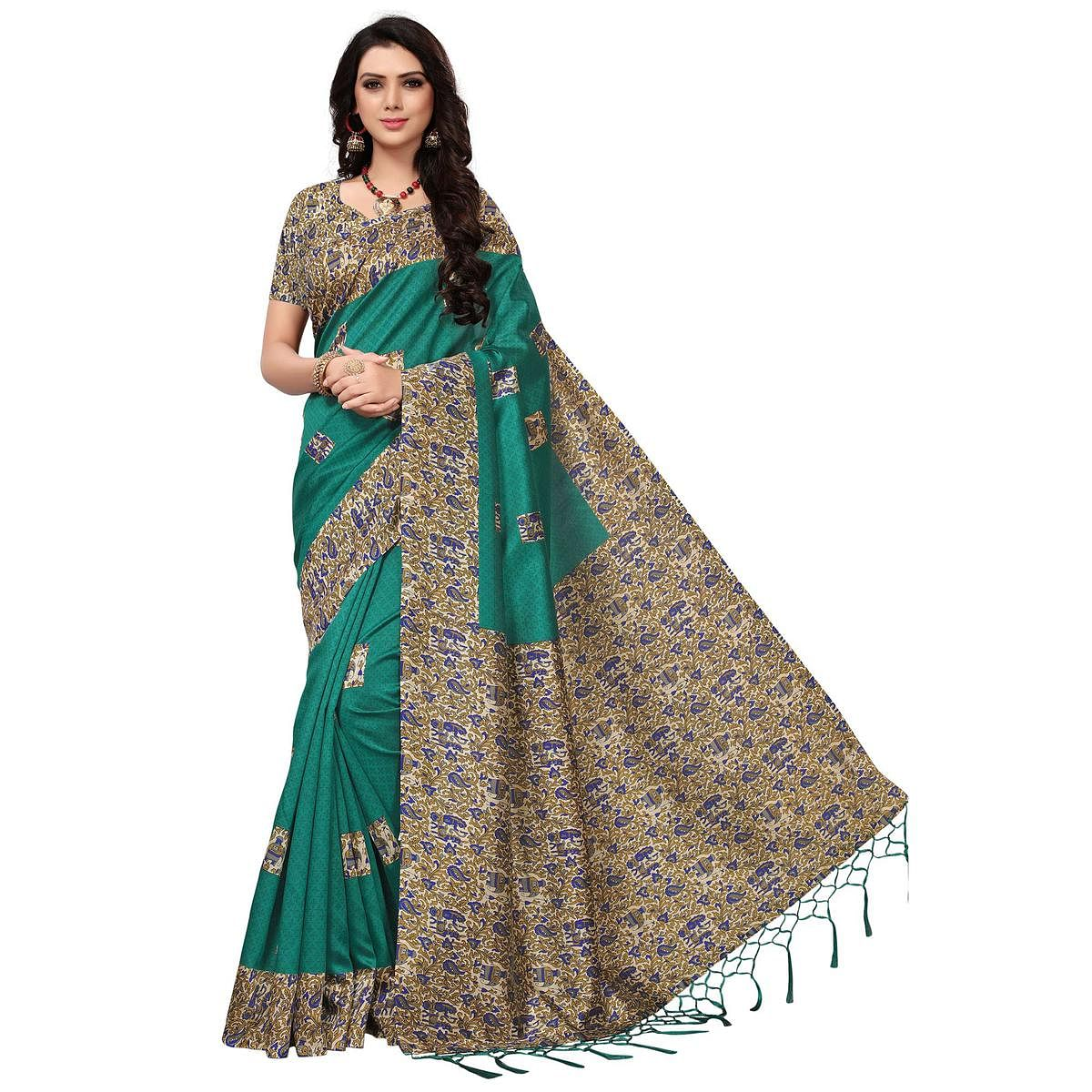 Jazzy Turquoise Green Colored Casual Printed Mysore Art Silk Saree