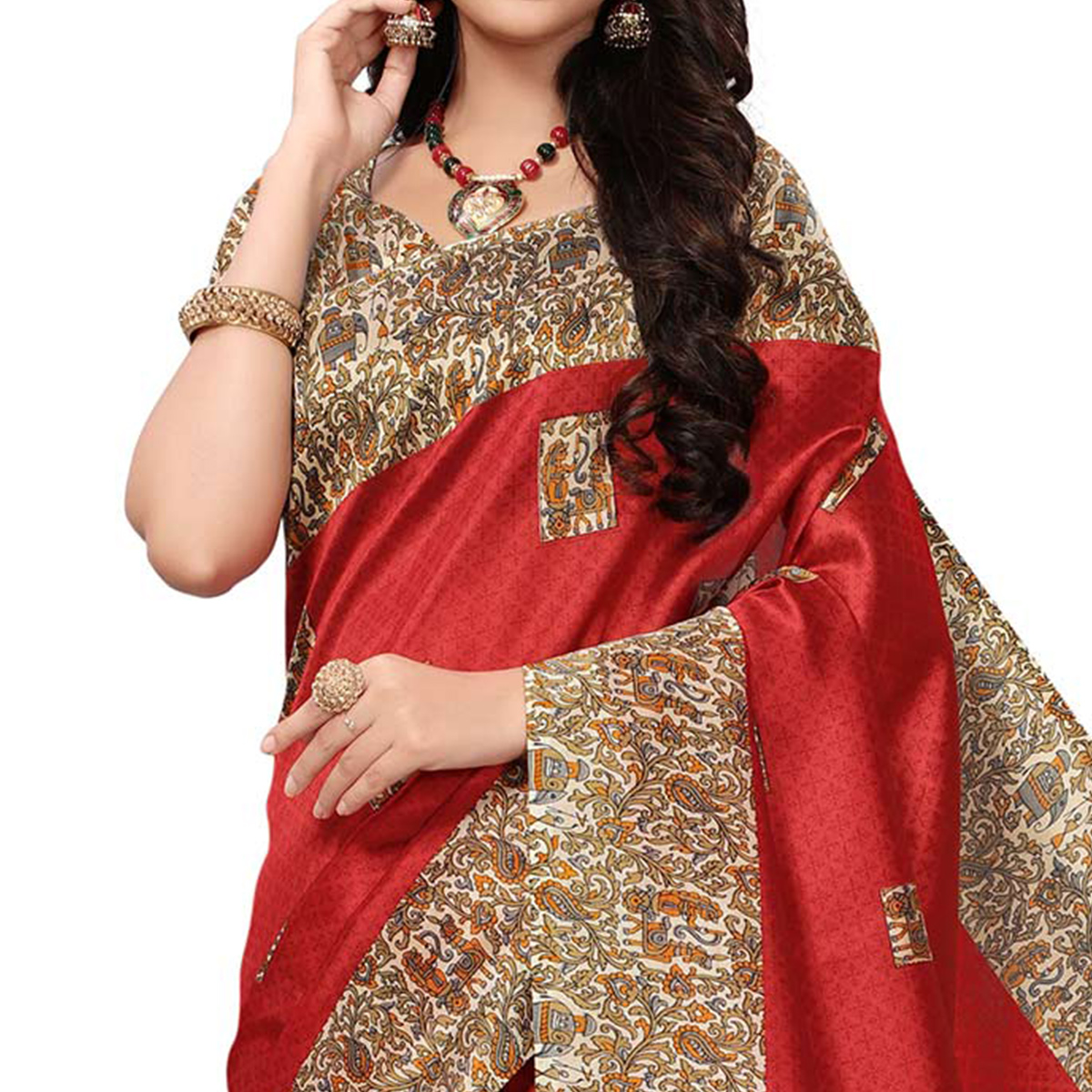 Excellent Dark Coral Colored Casual Printed Mysore Art Silk Saree