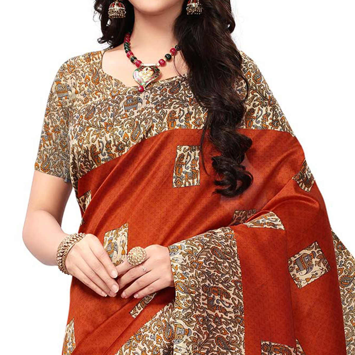 Blooming Orange Colored Casual Printed Mysore Art Silk Saree