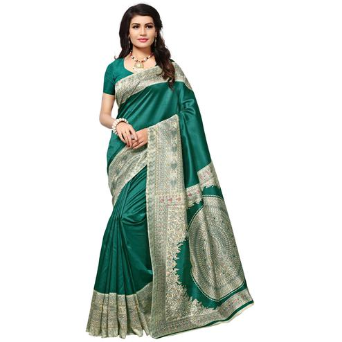 Awesome Green Colored Kalamkari Printed Mysore Art Silk Saree
