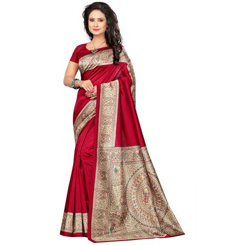 Glowing Dark Pink Colored Kalamkari Printed Mysore Art Silk Saree