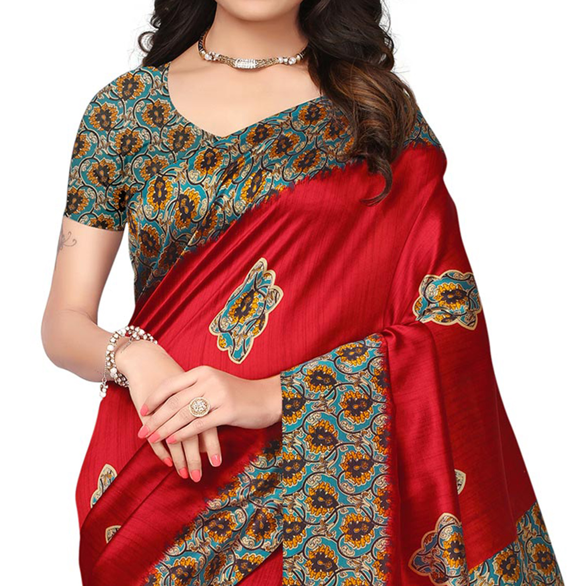Trendy Red Colored Kalamkari Printed Mysore Art Silk Saree
