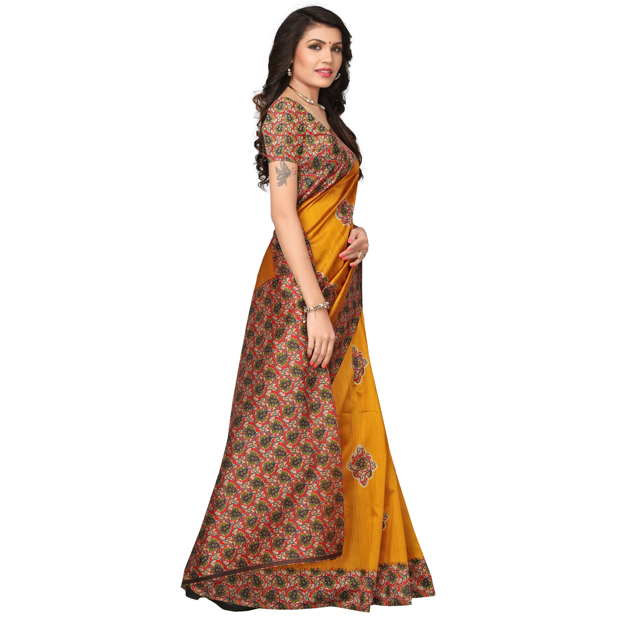 Groovy Yellow Colored Kalamkari Printed Mysore Art Silk Saree