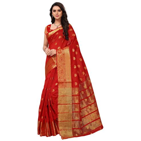 Mesmerising Red Colored Festive Wear Woven Kanjivaram Silk Saree