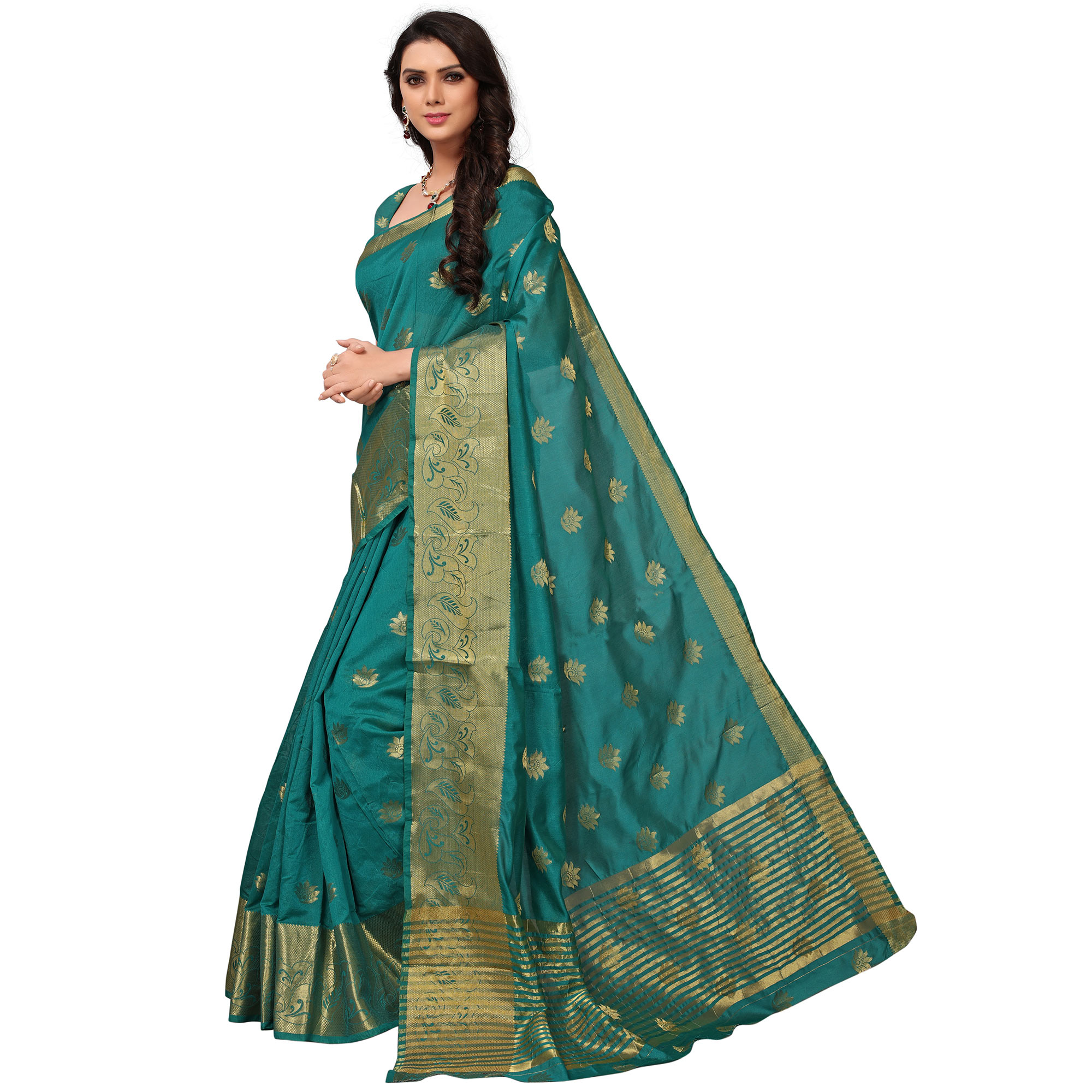 Impressive Turquoise Green Colored Festive Wear Woven Kanjivaram Silk Saree