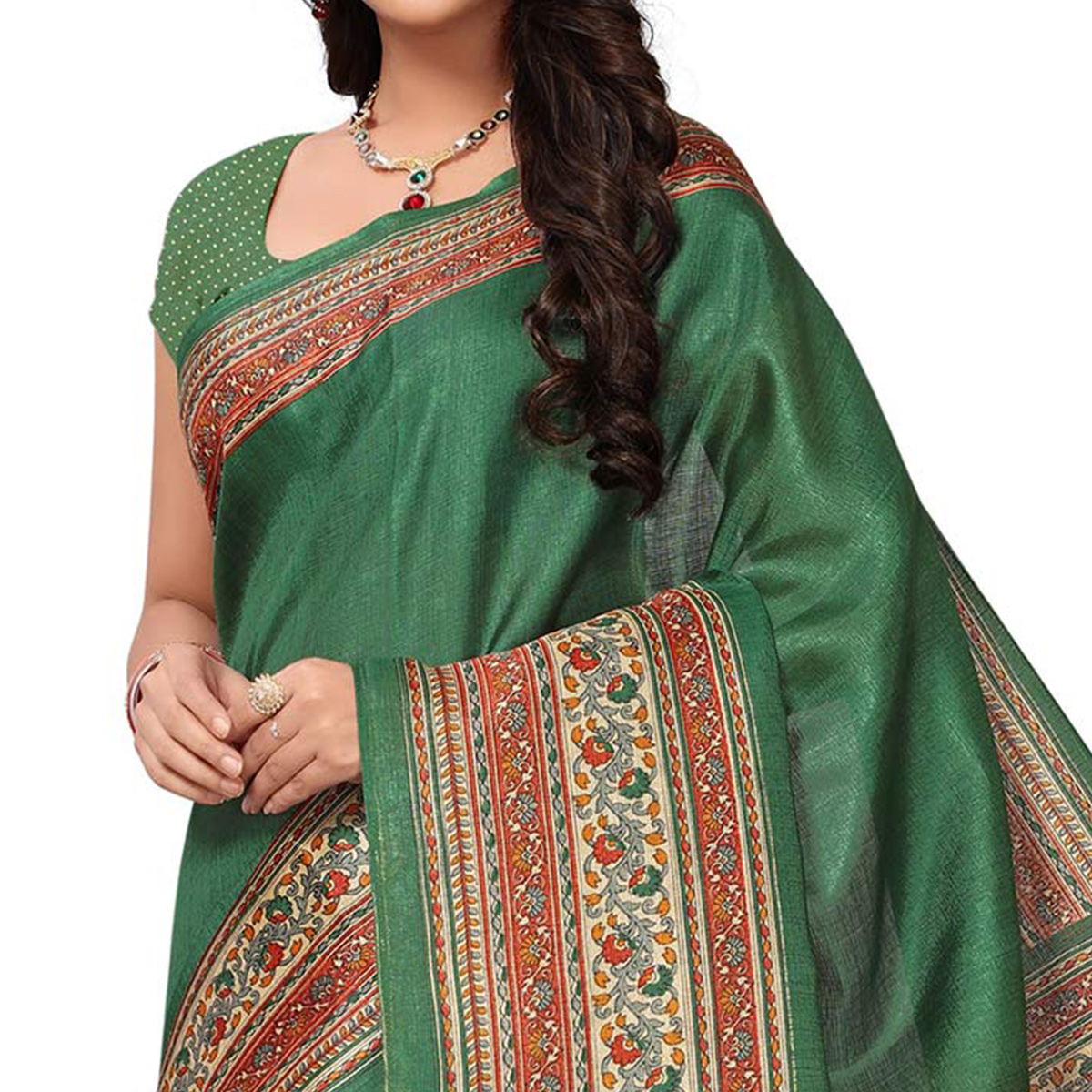 Refreshing Green Colored Festive Wear Printed Khadi Jute Silk Saree