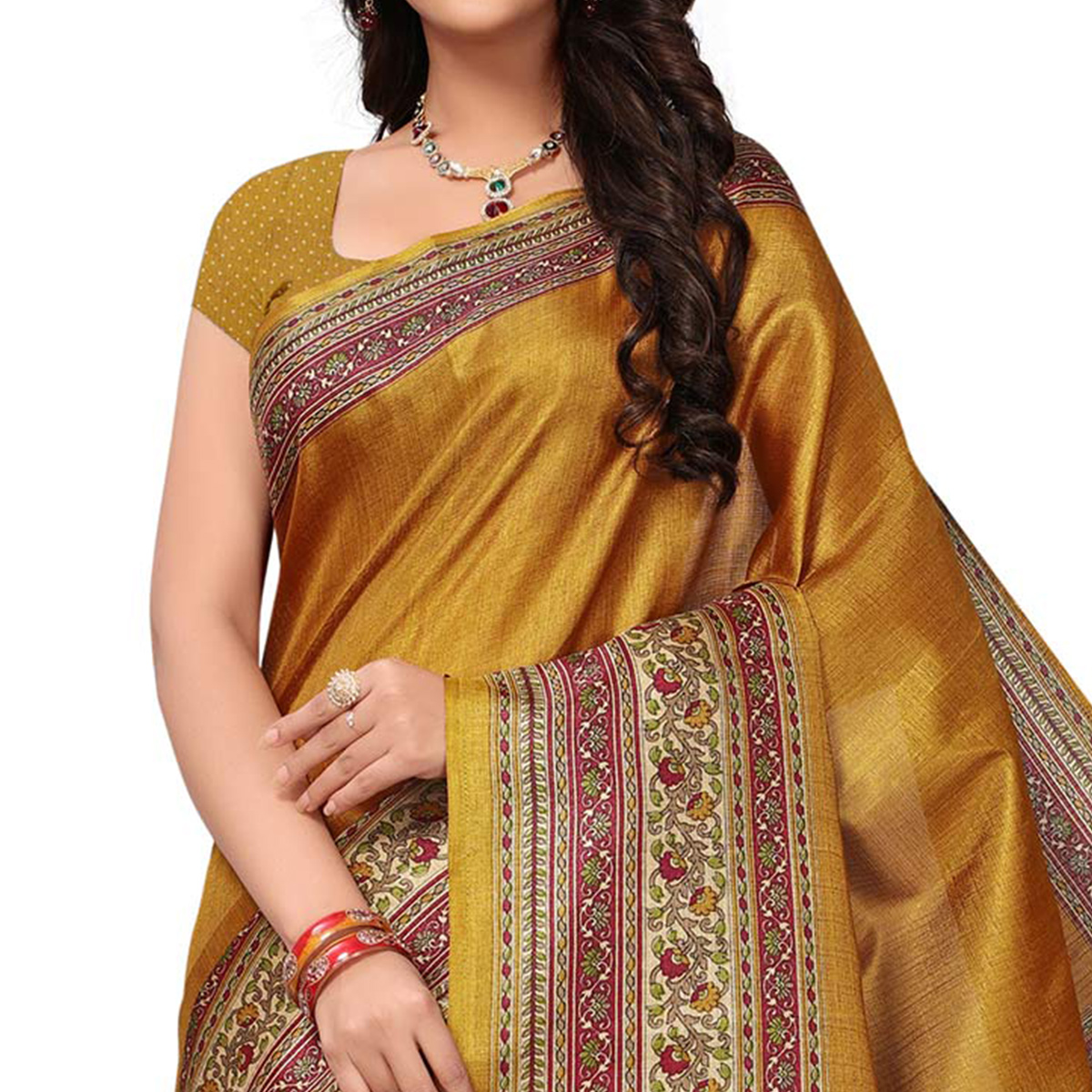 Beautiful Yellow Colored Festive Wear Printed Khadi Jute Silk Saree