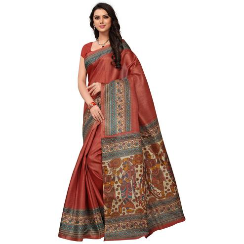 Adorning Rust Orange Colored Festive Wear Printed Khadi Jute Silk Saree