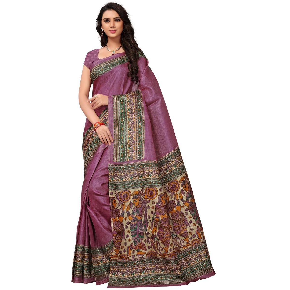 Pretty Light Purple Colored Festive Wear Printed Khadi Jute Silk Saree