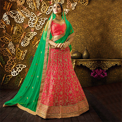 Sensational Pink-Green Designer Net Embroidered Lehenga Choli