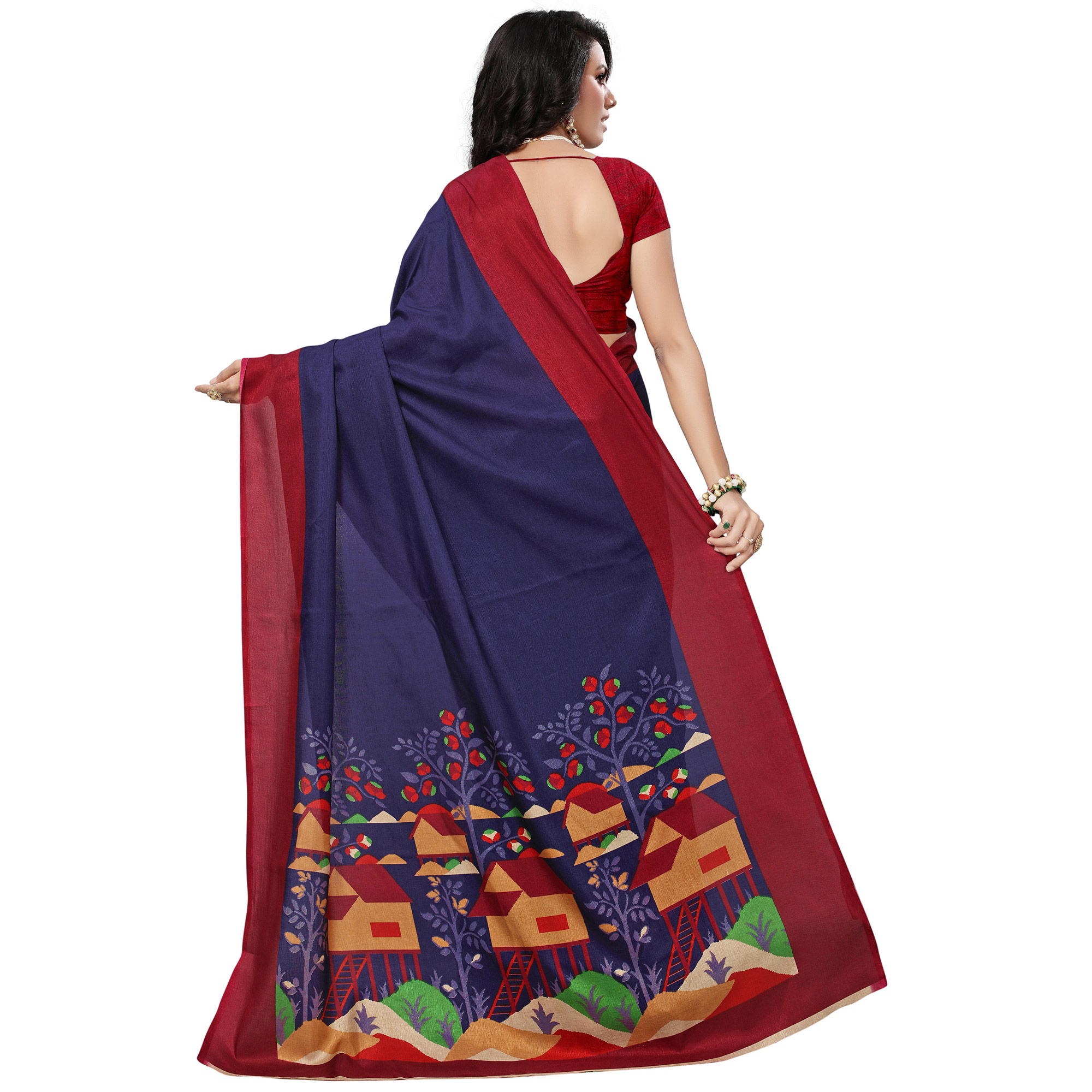 Excellent Navy Blue Colored Festive Wear Printed Khadi Silk Saree