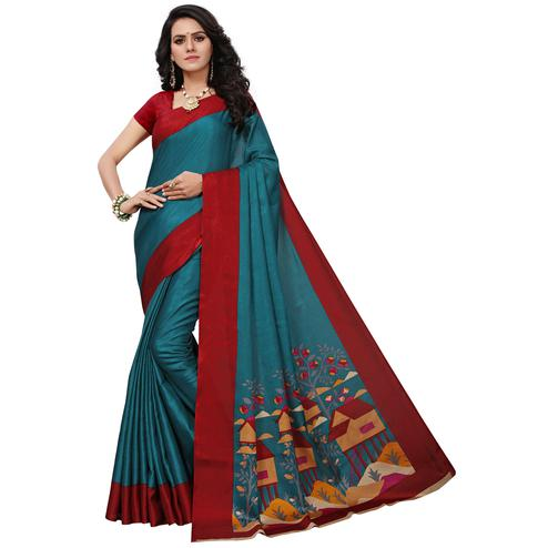 Majestic Teal Blue Colored Festive Wear Printed Khadi Silk Saree