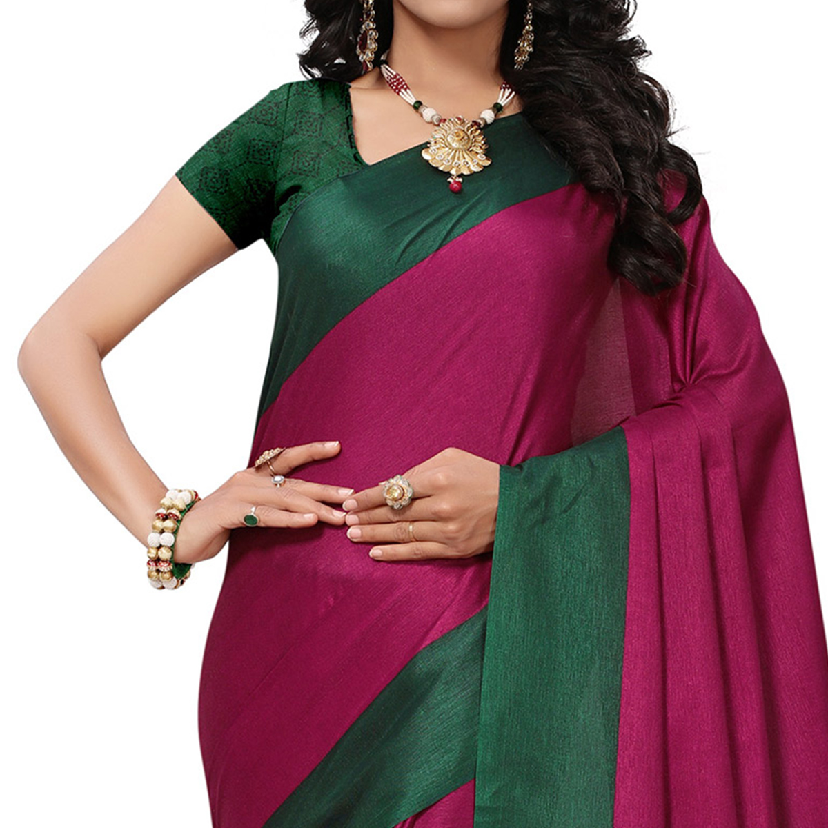 Perfect Dark Pink Colored Festive Wear Printed Khadi Silk Saree