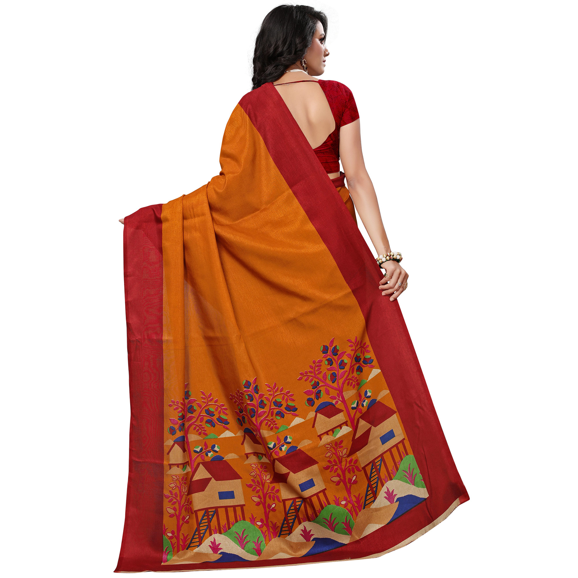 Traditional Yellow Colored Festive Wear Printed Khadi Silk Saree