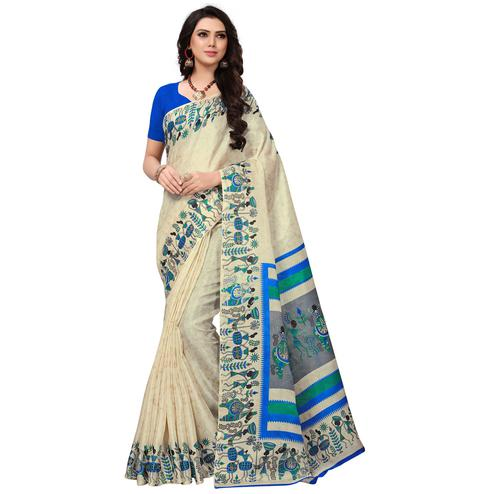 Pleasant Off White-Blue Colored Festive Wear Printed Khadi Silk Saree