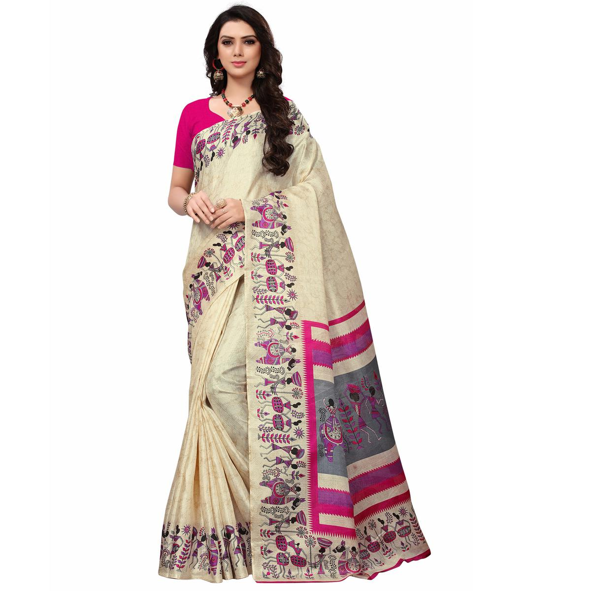 Desiring Off White-Pink Colored Festive Wear Printed Khadi Silk Saree