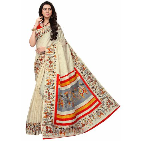 Demanding Off White-Red Colored Festive Wear Printed Khadi Silk Saree