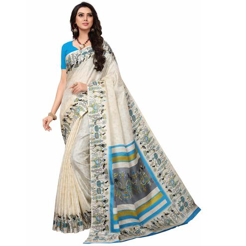 Blooming Off White-Blue Colored Festive Wear Printed Khadi Silk Saree