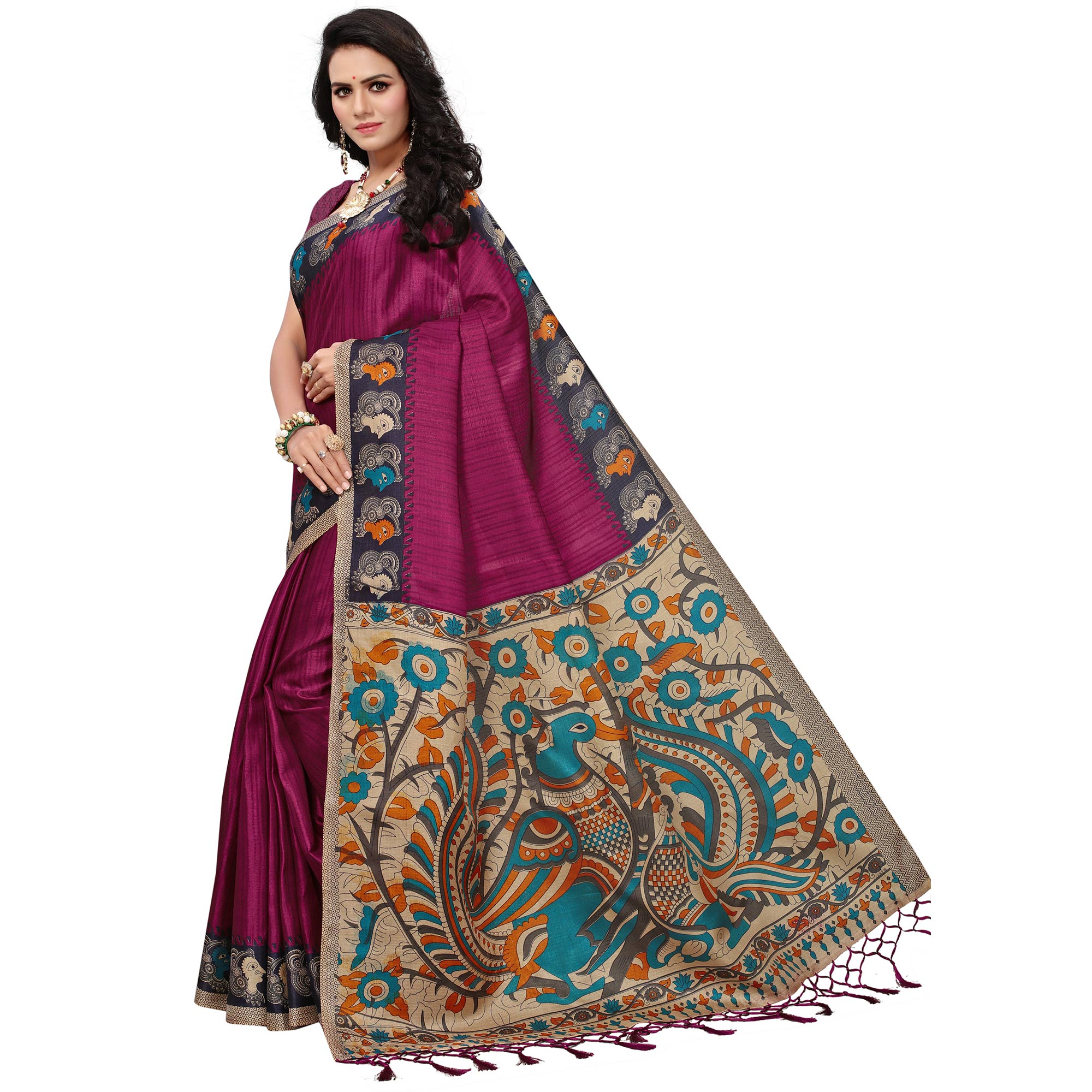 Impressive Magenta Colored Festive Wear Printed Khadi Silk Saree