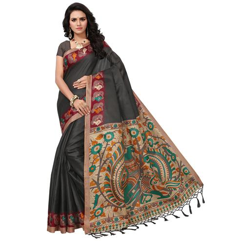 Desiring Black Colored Festive Wear Printed Khadi Silk Saree