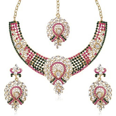 Pink & Green Austrian Stone Kundan Gold Plated Necklace Set With Maang Tikka