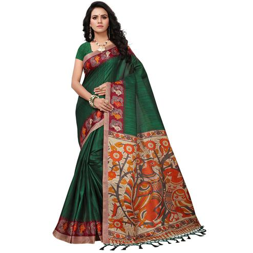 Refreshing Green Colored Festive Wear Printed Khadi Silk Saree